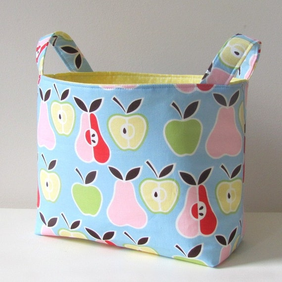 Fabric Basket Organizer Storage Bin Apples and Pears