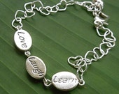 Love Laugh Learn Sterling Silver Bracelet - heart shaped sterling silver chain - phrase beads -inspirational words - free shipping in USA