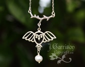 Owl, Moon & Branch Necklace - pearl, sterling silver charms and chain - free shipping USA - woodland animal