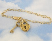 Gold key to my heart charm bracelet - heart lock charm, removable key charm - romantic valentines day anniversary gift - free shipping USA