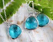 Aqua blue crystal silver necklace and earring set - bezel set deep aqua briolettes on sterling silver chain & earwires - free shipping USA