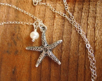 Starfish and Pearl Necklace - silver plated pewter sea star and white freshwater pearl on a sterling silver chain - free shipping in USA