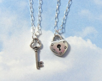 Key to my heart necklace - couples and lovers edition - two necklaces in sterling silver - for love, friendship, anniversary or engagement
