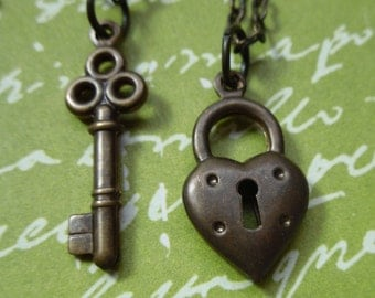 Key to My Heart Couples Necklace Set - Antiqued Brass Heart Lock and Key - Two Necklaces - Anniversary, Love, Friendship - free shipping USA