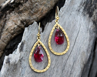 Ruby Swarovski crystal & gold teardrop chandelier earrings - deep fuchsia magenta - free shipping USA