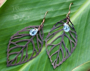 Autumn leaves earrings - copper leaf skeletons & glass raindrops - Fall colors - free shipping USA