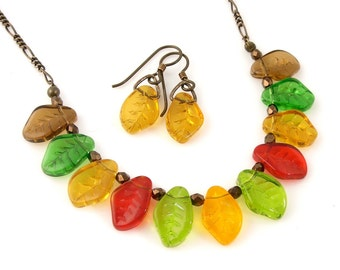 Autumn Leaves Necklace & Earring set - glass leaf beads, antiqued brass- fall colors- red, amber, olivine, brown, emerald- free shipping USA