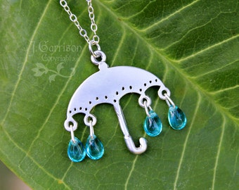 Rainy Day Necklace - Silver umbrella with aqua glass raindrops - rain shower in silver & blue - free shipping USA