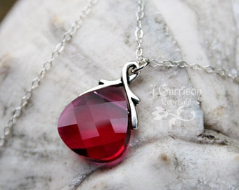 Ruby Swarovski crystal briolette necklace, sterling silver chain - fuchsia magenta hot pink - free shipping USA