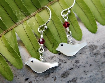 White bird & fuchsia crystal earrings - mother of pearl, sterling silver, magenta pink Swarovski crystal - free shipping USA