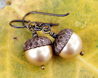 Antiqued Brass & Pearl  Acorn Earrings - Vintaj Brass Bead Caps, Gold Swarovski Pearls - niobium hypoallergenic earwires - free shipping USA