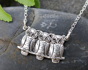 Three wise owls necklace - adorable woodland birds charm on sterling silver chain - child to women's plus size - free shipping in USA