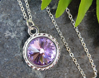 Violet & Silver Necklace- - Bright, Sparkling pale purple rivoli crystal, sterling silver chain - free shipping USA