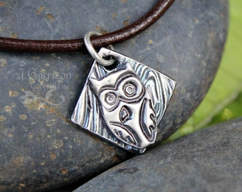 Charming owl necklace - handmade fine silver charm -  owl on wood grain background-  on brown leather cord - Free shipping in USA