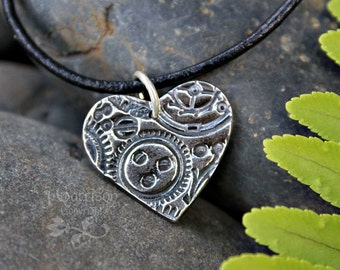 Clockwork heart necklace - handmade fine silver charm on black leather cord - rustic antiqued steampunk watch gears - free shipping USA