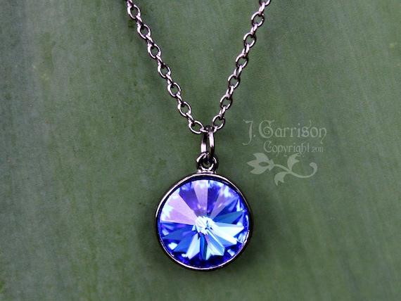 Sapphire beacon necklace - blue Swarovski crystal rivoli stone on gunmetal black chain - child to womens plus sizes - free shipping USA