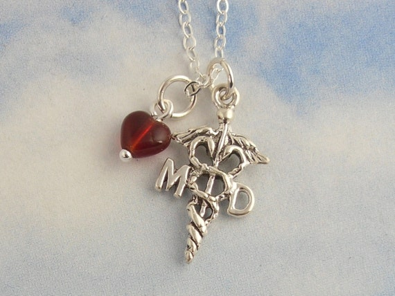 Love Medicine necklace- sterling silver MD caduceus medical symbol & red heart on sterling chain - for doctors and medical students