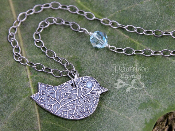 Winter bird necklace - handmade fine silver bird with blue topaz eye on oxidized sterling chain - free shipping USA