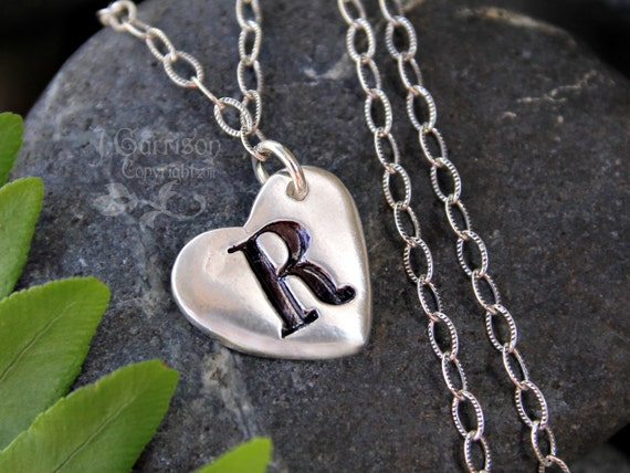 Handmade fine silver heart initial charm necklace with oxidized sterling silver chain - personalized custom order - free shipping USA