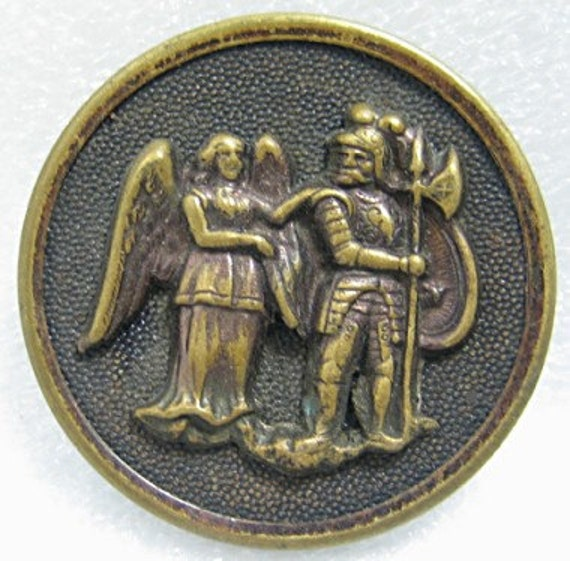 Antique large picture button Charlemagne and the Warning Angel