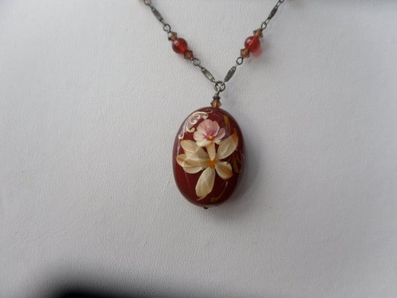 Hand-painted Carnelian Pendant Necklace