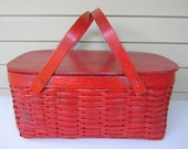 Old Painted Red Picnic Basket
