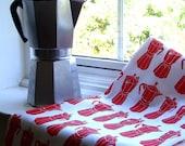 Moka Express tea towel - Cherry Red