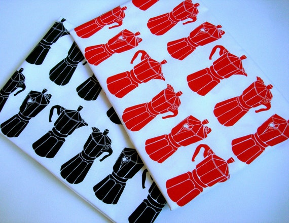 Moka Express tea towel set - Cherry Red and Black