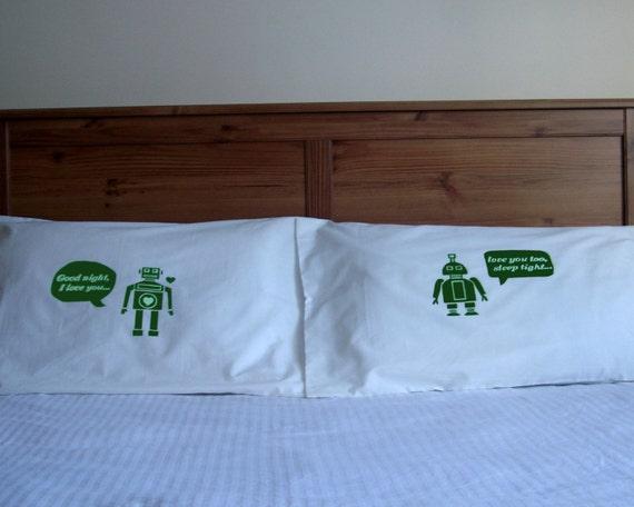 i heart robot  pillow case set  - green  MORE COLOURS AVAILABLE