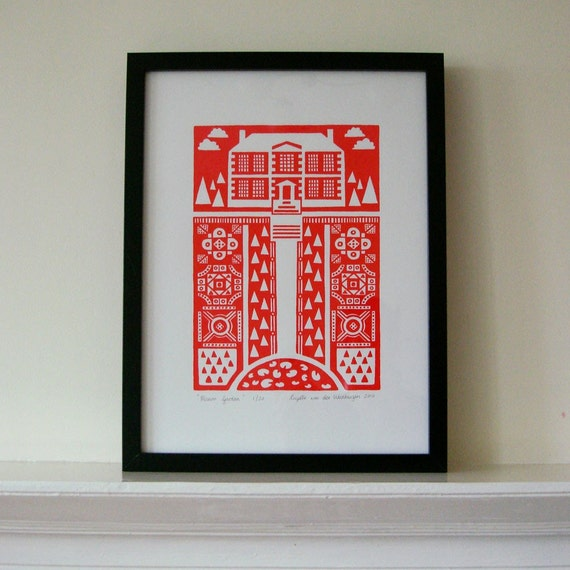 SALE Manor Garden silkscreen print - bright red