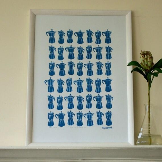 Moka Express silkscreen print - wedgewood blue
