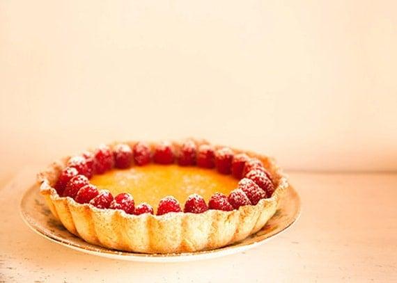 Food photo pie - Tarte au citron deux - 8x10 kitchen art print - food photography lemon raspberry baking