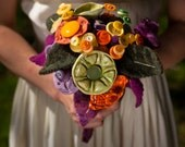 Custom Wedding Bridal Bouquet- Handmade ceramic button flowers, vintage and recycled sweater felt