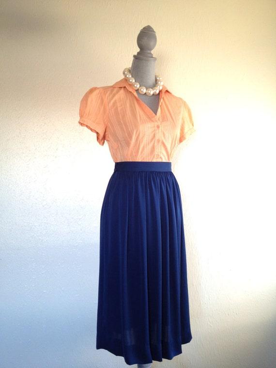 Vintage Navy Blue Pleated Skirt Ladies