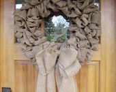 "Large 25"" Wide, Thick, Gorgeous Burlap Wreath Made to Order"