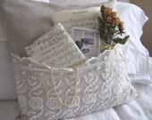 Shabby Vintage Lace Linen Pocket Pillow