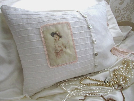 Shabby Chic Linen Pillows : Shabby French Linen Pillow Paris Chic by Therobinandsparrow
