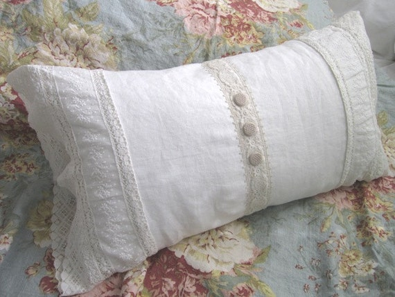 Shabby Chic Vintage Lace Linen Pillow by Therobinandsparrow