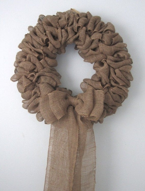 """Large 25"""" Wide, Thick, Gorgeous Burlap Wreath Made to Order"""