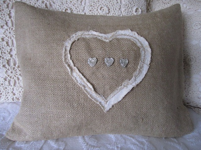 Shabby Chic Heart Pillow by Therobinandsparrow on Etsy
