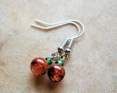 CLEARANCE, Orange Crackle Quartz Earrings, Dangle Earrings, Pumpkin Jewelry, Handcrafted Jewelry, Fall Jewelry, Halloween Jewelry