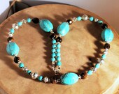 Turquoise and Tigers Eye Necklace, Southwestern Style, Statement Necklace, Native Style, Gemstone Jewelry, Handcrafted Jewelry