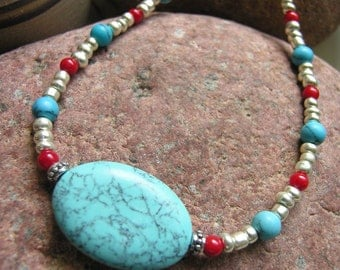 Turquoise Necklace, Seed Bead Necklace, Turquoise and Red, Turquoise and Silver, Native Style Jewelry, Boho Jewelry, Handcrafted Jewelry