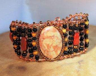 Fancy Jasper and Mahogany Obsidian Bracelet Cuff, Copper Wire Wrap Jewelry, Boho Jewelry, Native Style Jewelry, Copper Cuff, Handcrafted