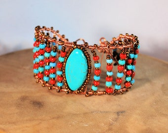 Turquoise and Copper Bracelet Cuff,  Wire Wrapped Bracelet, Turquoise and Red, Handcrafted Jewelry, Gemstone Jewelry, Native Inspired
