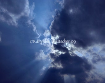 The Kiss, Fine Art Photography, Matted Photography, Cloudscape, Home Decor, Office Decor, Blue and White, Inspirational Art
