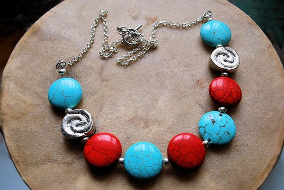 Turquoise and Vintage Silver Bead Necklace, Turquoise and Red Howlite Necklace, Southwestern Style Necklace, Gemstone Jewelry, Handcrafted