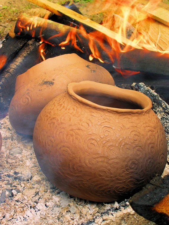 The Potter's Fire---Native Inspired Clay Rustic Pottery Inspirational Fine Art Matted Photography Home Office Decor