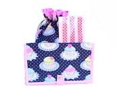 Knitting Gift Set - Project Bag Drawstring WIP - 1 Small Bag, 1 Pattern Wallet & 1 Pattern Magnet Set - Glitter Cupcakes