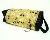 Medium Knitting Project Bag Crochet Drawstring Tote WIP Bag Cord Lock - Sassy Tan Kitty Cat